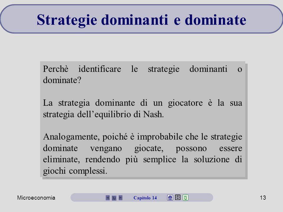 Microeconomia13 Strategie dominanti e dominate Perchè identificare le strategie dominanti o dominate? La strategia dominante di un giocatore è la sua