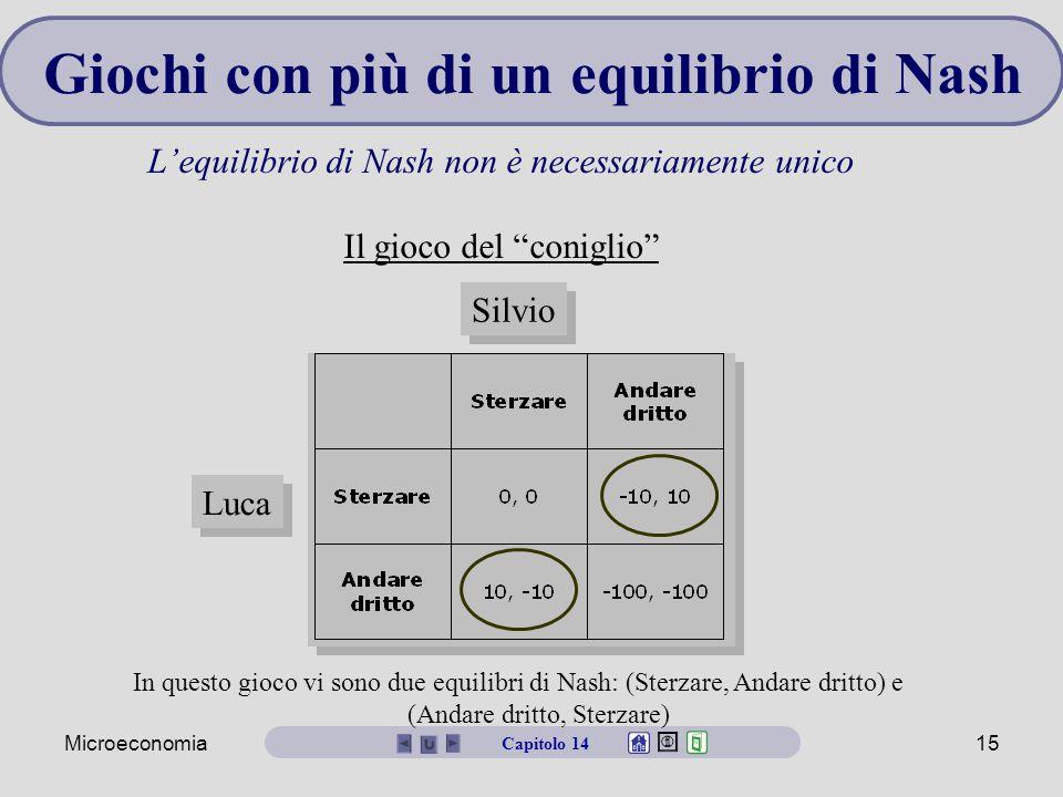 """Microeconomia15 Silvio Luca Giochi con più di un equilibrio di Nash L'equilibrio di Nash non è necessariamente unico Il gioco del """"coniglio"""" Capitolo"""