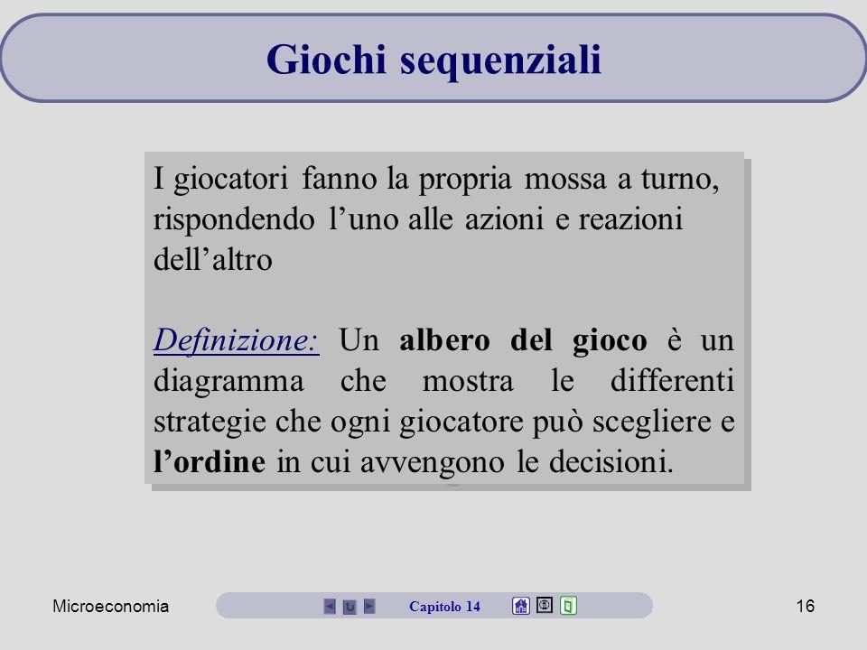 Microeconomia16 Giochi sequenziali I giocatori fanno la propria mossa a turno, rispondendo l'uno alle azioni e reazioni dell'altro Definizione: Un alb