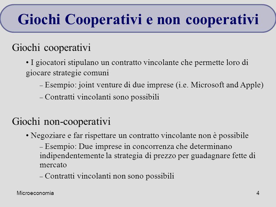 Microeconomia4 Giochi cooperativi I giocatori stipulano un contratto vincolante che permette loro di giocare strategie comuni – Esempio: joint venture