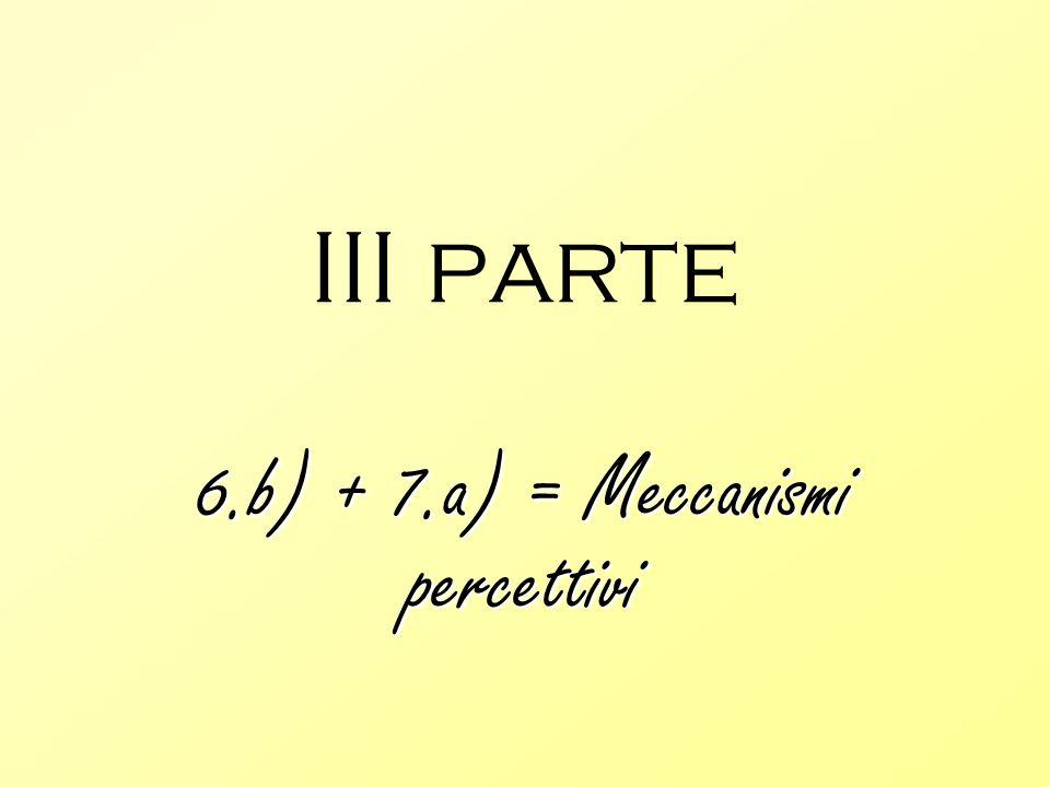 III parte 6.b) + 7.a) = Meccanismi percettivi