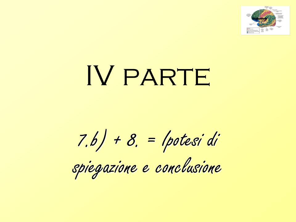 IV parte 7.b) + 8. = Ipotesi di spiegazione e conclusione