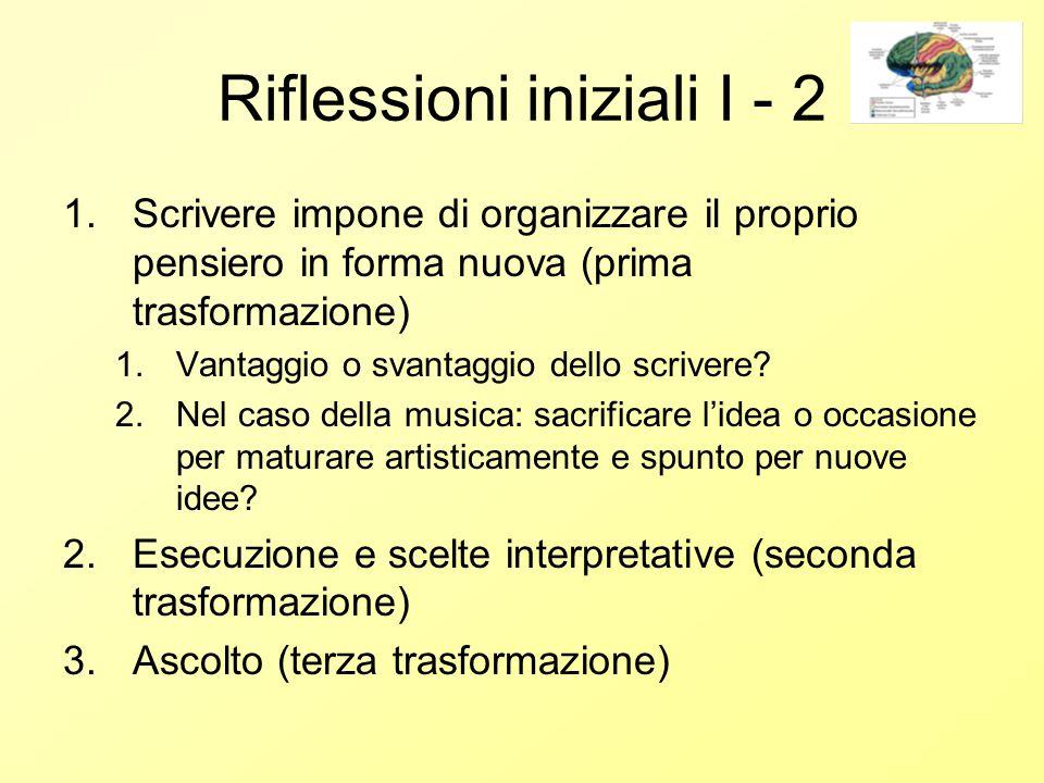 Riflessioni iniziali I - 2 1.Scrivere impone di organizzare il proprio pensiero in forma nuova (prima trasformazione) 1.Vantaggio o svantaggio dello scrivere.
