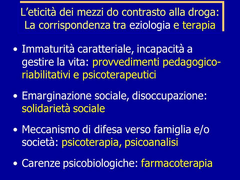 L'eticità dei mezzi do contrasto alla droga: La corrispondenza tra eziologia e terapia Immaturità caratteriale, incapacità a gestire la vita: provvedimenti pedagogico- riabilitativi e psicoterapeutici Emarginazione sociale, disoccupazione: solidarietà sociale Meccanismo di difesa verso famiglia e/o società: psicoterapia, psicoanalisi Carenze psicobiologiche: farmacoterapia