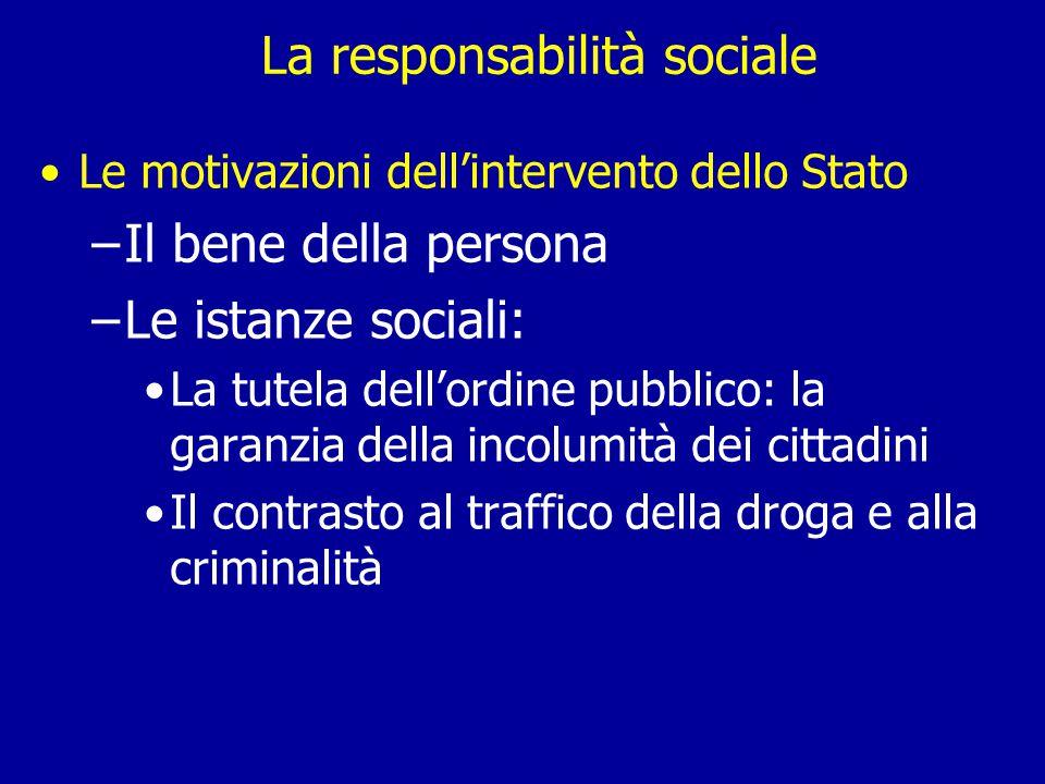 La responsabilità sociale Le motivazioni dell'intervento dello Stato –Il bene della persona –Le istanze sociali: La tutela dell'ordine pubblico: la garanzia della incolumità dei cittadini Il contrasto al traffico della droga e alla criminalità