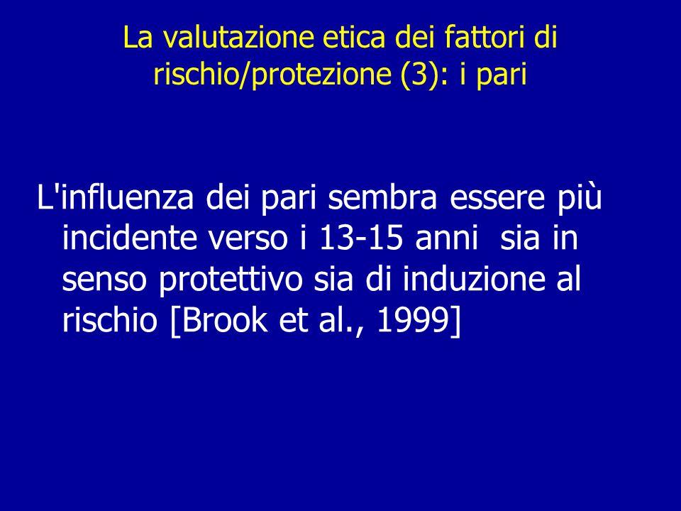 La valutazione etica dei fattori di rischio/protezione (3): i pari L influenza dei pari sembra essere più incidente verso i 13-15 anni sia in senso protettivo sia di induzione al rischio [Brook et al., 1999]