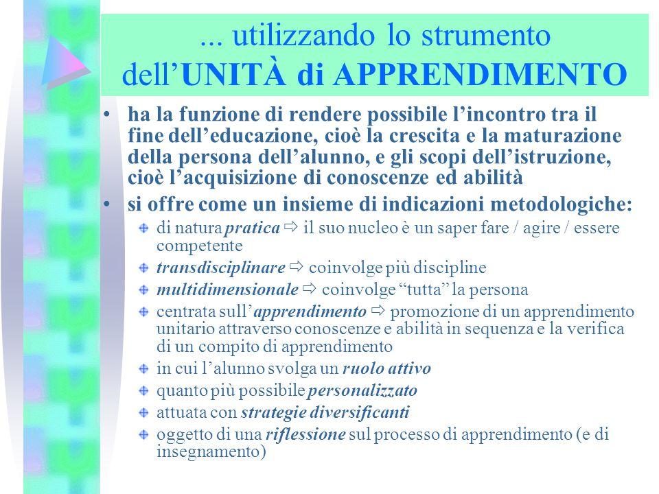 ... utilizzando lo strumento dell'UNITÀ di APPRENDIMENTO ha la funzione di rendere possibile l'incontro tra il fine dell'educazione, cioè la crescita