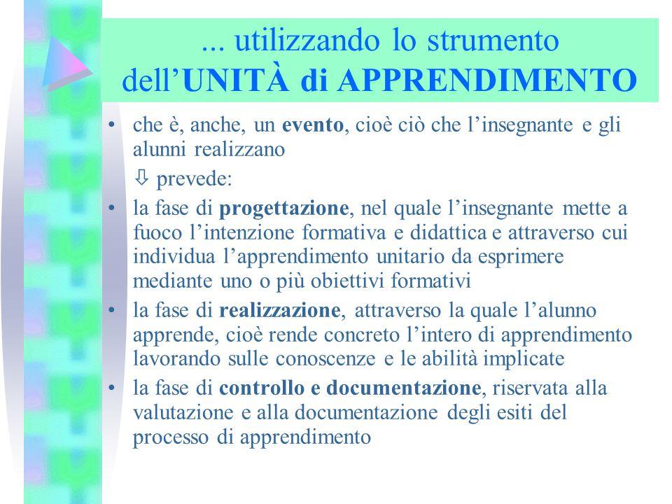 ... utilizzando lo strumento dell'UNITÀ di APPRENDIMENTO che è, anche, un evento, cioè ciò che l'insegnante e gli alunni realizzano  prevede: la fase