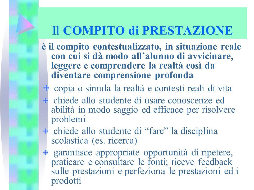 Il COMPITO di PRESTAZIONE è il compito contestualizzato, in situazione reale con cui si dà modo all'alunno di avvicinare, leggere e comprendere la rea