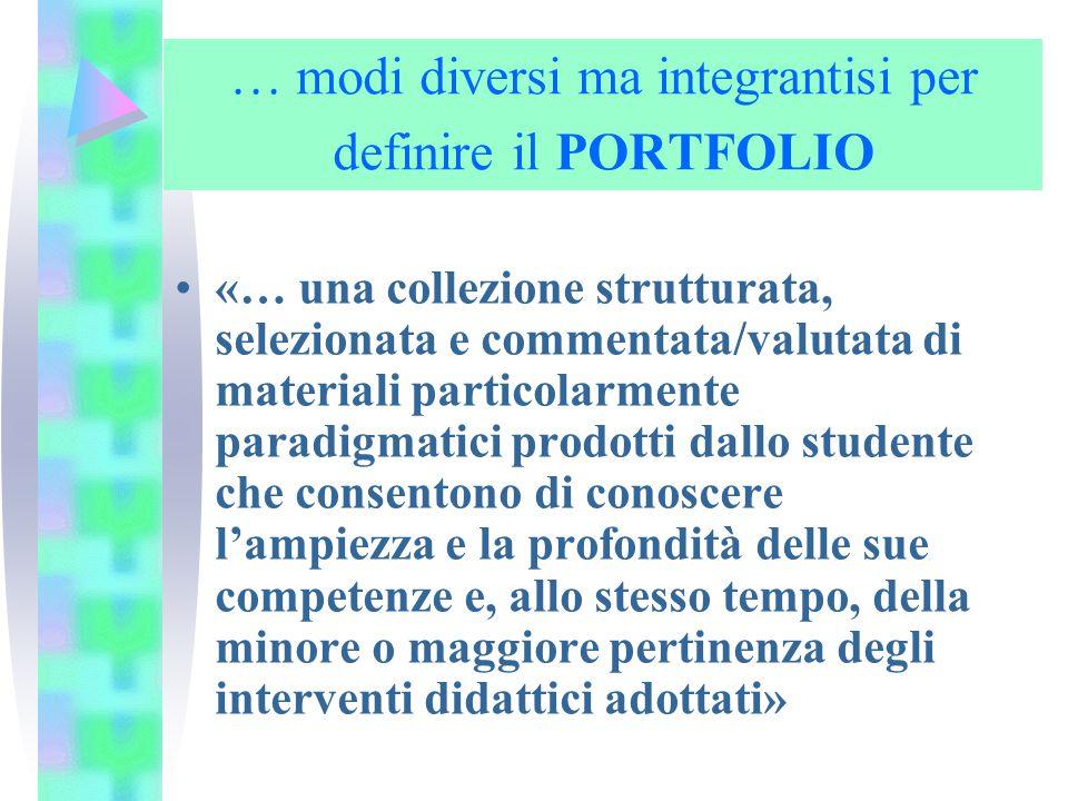 … modi diversi ma integrantisi per definire il PORTFOLIO «… una collezione strutturata, selezionata e commentata/valutata di materiali particolarmente
