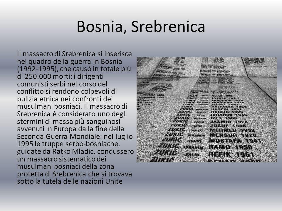 Bosnia, Srebrenica Il massacro di Srebrenica si inserisce nel quadro della guerra in Bosnia (1992-1995), che causò in totale più di 250.000 morti: i dirigenti comunisti serbi nel corso del conflitto si rendono colpevoli di pulizia etnica nei confronti dei musulmani bosniaci.