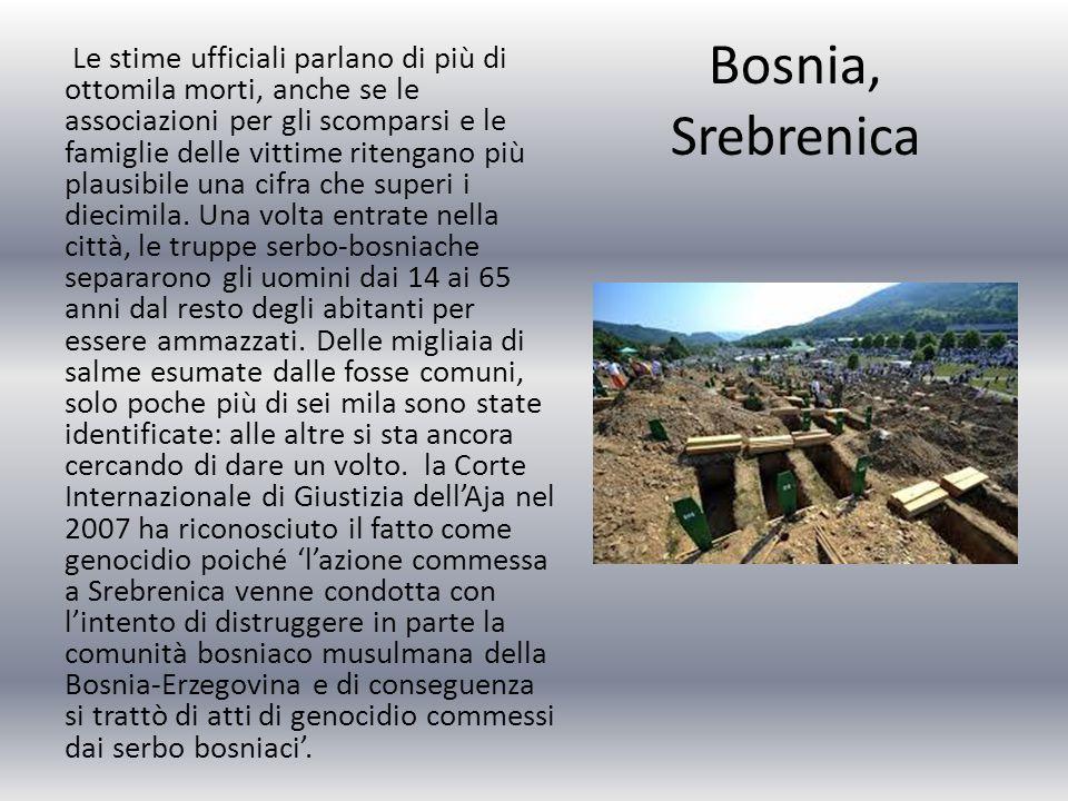 Bosnia, Srebrenica Le stime ufficiali parlano di più di ottomila morti, anche se le associazioni per gli scomparsi e le famiglie delle vittime ritengano più plausibile una cifra che superi i diecimila.