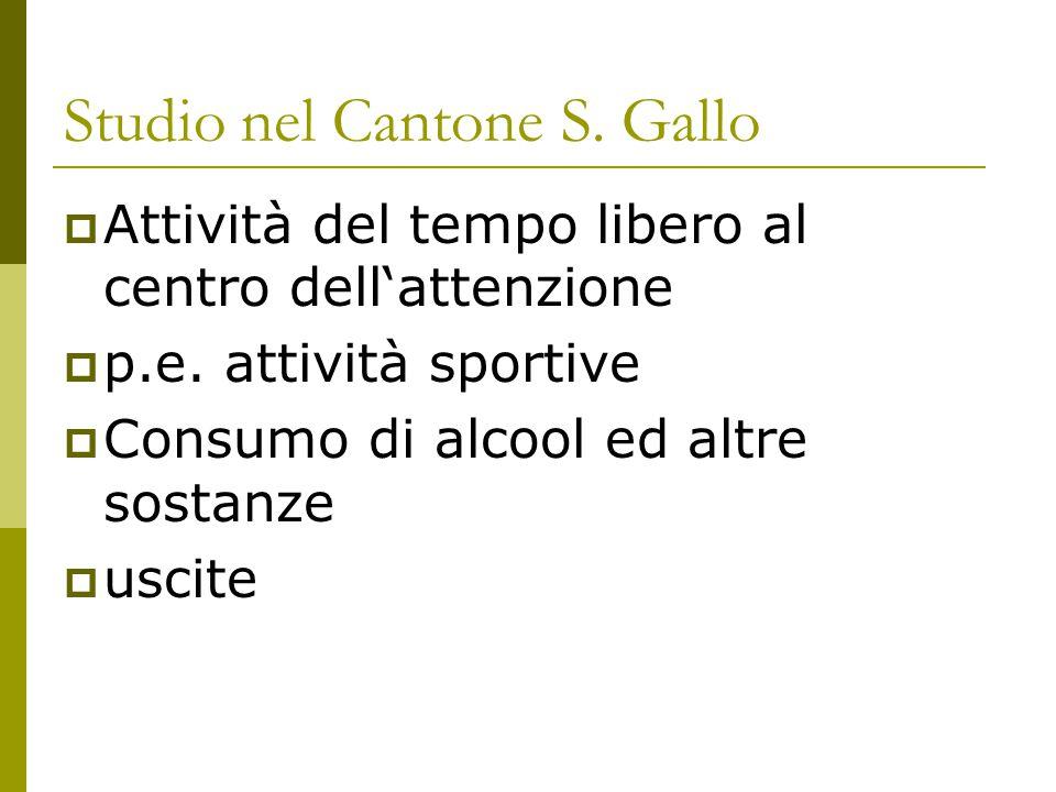 Studio nel Cantone S. Gallo  Attività del tempo libero al centro dell'attenzione  p.e. attività sportive  Consumo di alcool ed altre sostanze  usc