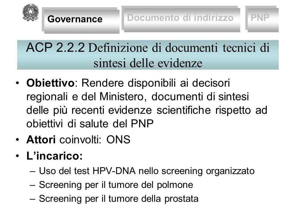 PNP 2010-12: screening cervicovarcinoma con HPV-DNA test Programmazione Innovazione : Avvio di sperimentazioni per utilizzo HPV-DNA come test dì primario Azioni centrali Sintesi evidenze interventi Supporto ONS Governance Documento di indirizzo PNP