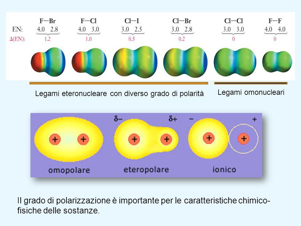 Legami omonucleari Legami eteronucleare con diverso grado di polarità Il grado di polarizzazione è importante per le caratteristiche chimico- fisiche