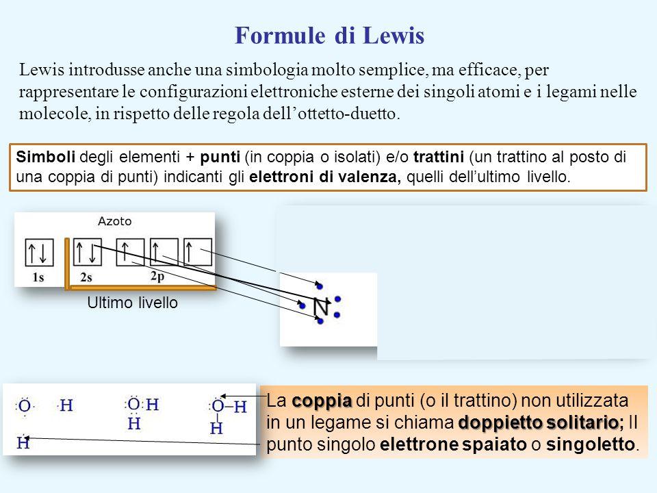 Ultimo livello coppia doppietto solitario La coppia di punti (o il trattino) non utilizzata in un legame si chiama doppietto solitario; Il punto singo