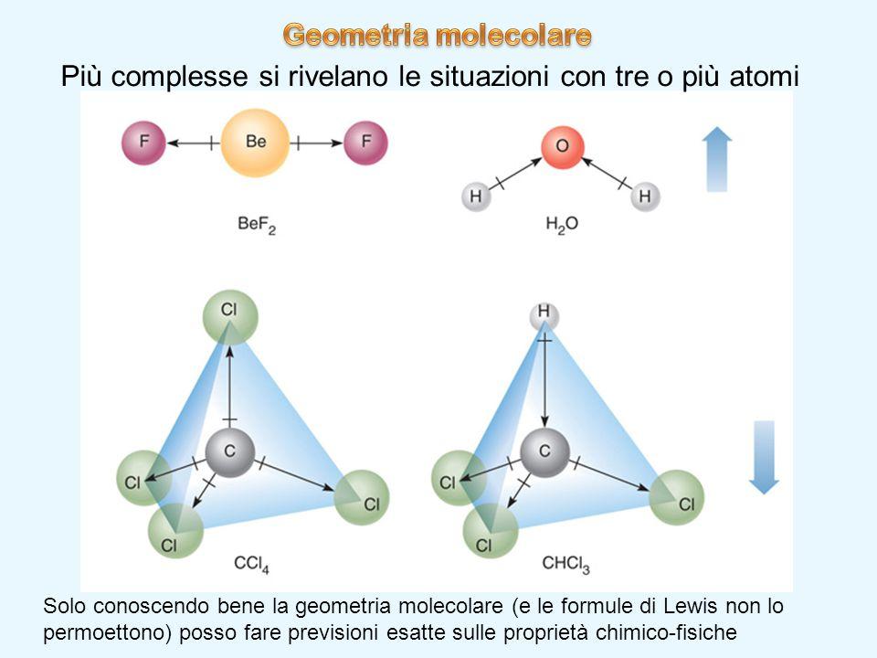 Più complesse si rivelano le situazioni con tre o più atomi Solo conoscendo bene la geometria molecolare (e le formule di Lewis non lo permoettono) po