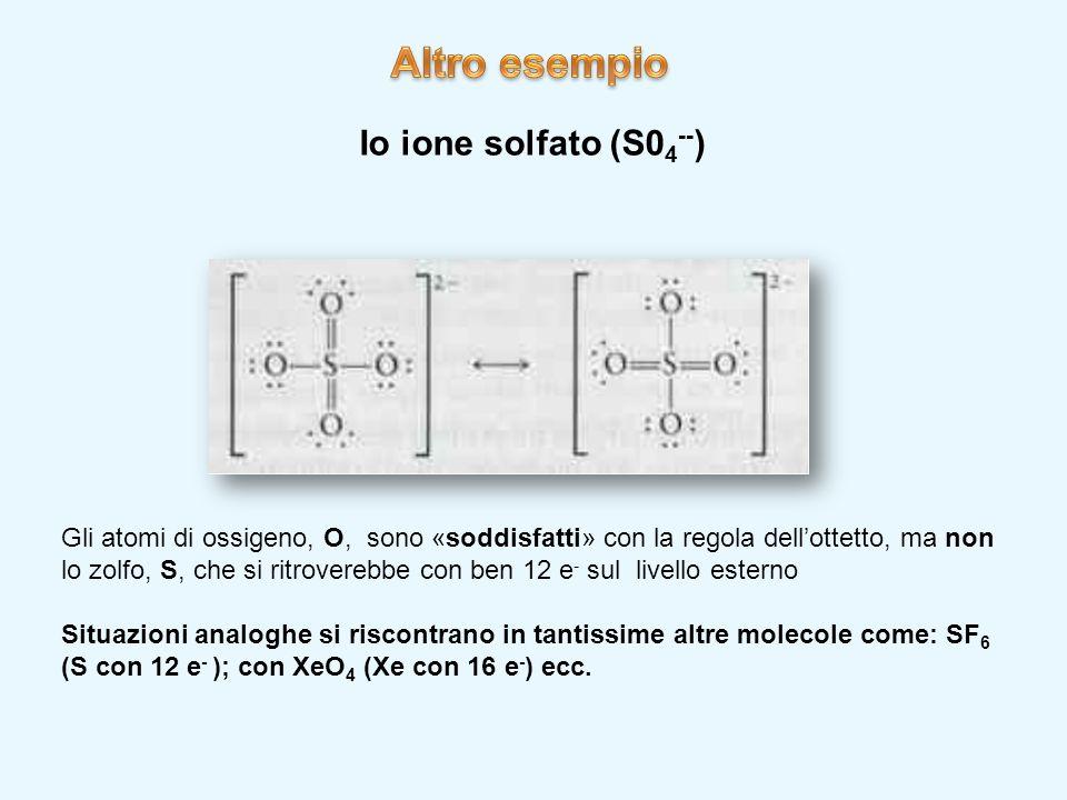 Io ione solfato (S0 4 -- ) Gli atomi di ossigeno, O, sono «soddisfatti» con la regola dell'ottetto, ma non lo zolfo, S, che si ritroverebbe con ben 12