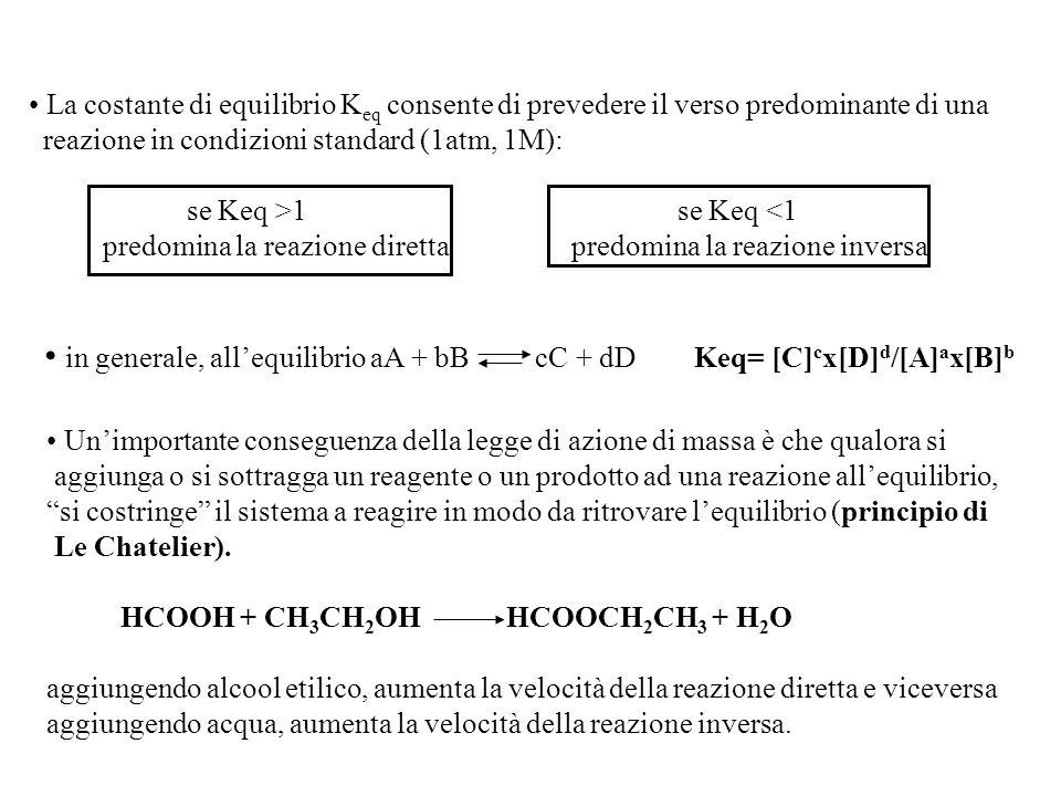 La costante di equilibrio K eq consente di prevedere il verso predominante di una reazione in condizioni standard (1atm, 1M): se Keq >1 se Keq <1 predomina la reazione diretta predomina la reazione inversa in generale, all'equilibrio aA + bB cC + dD Keq= [C] c x[D] d /[A] a x[B] b Un'importante conseguenza della legge di azione di massa è che qualora si aggiunga o si sottragga un reagente o un prodotto ad una reazione all'equilibrio, si costringe il sistema a reagire in modo da ritrovare l'equilibrio (principio di Le Chatelier).
