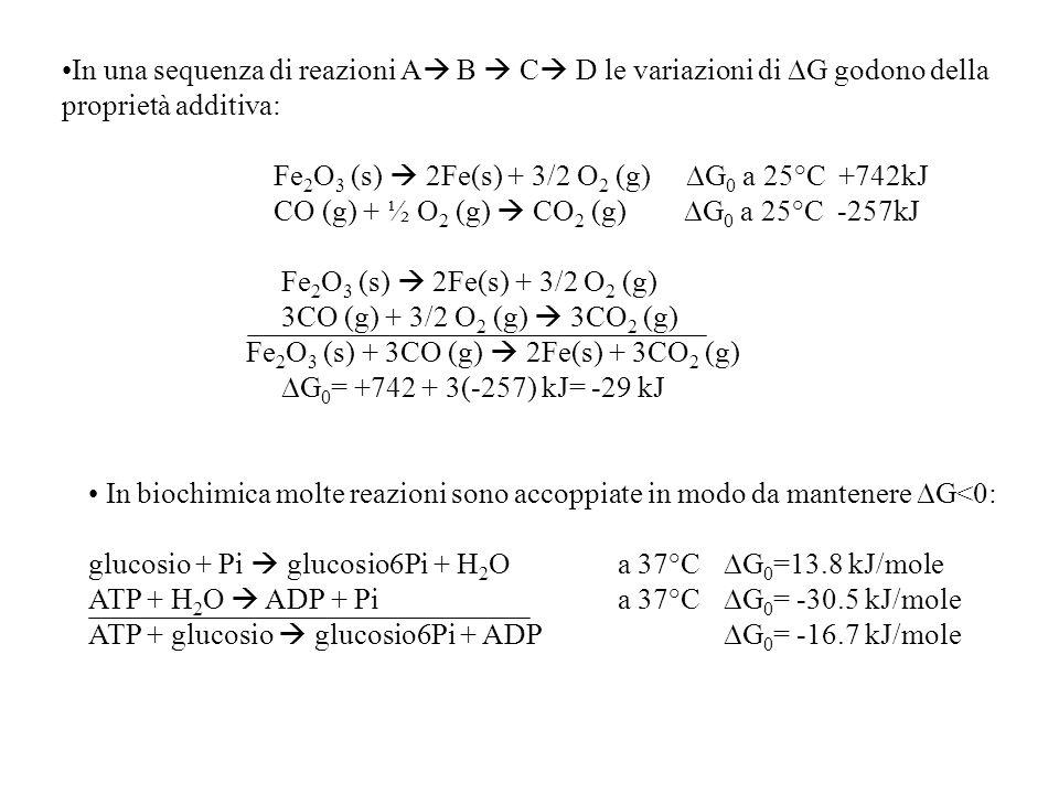 In una sequenza di reazioni A  B  C  D le variazioni di  G godono della proprietà additiva: Fe 2 O 3 (s)  2Fe(s) + 3/2 O 2 (g)  G 0 a 25°C +742kJ CO (g) + ½ O 2 (g)  CO 2 (g)  G 0 a 25°C -257kJ Fe 2 O 3 (s)  2Fe(s) + 3/2 O 2 (g) 3CO (g) + 3/2 O 2 (g)  3CO 2 (g) Fe 2 O 3 (s) + 3CO (g)  2Fe(s) + 3CO 2 (g)  G 0 = +742 + 3(-257) kJ= -29 kJ In biochimica molte reazioni sono accoppiate in modo da mantenere  G<0: glucosio + Pi  glucosio6Pi + H 2 O a 37°C  G 0 =13.8 kJ/mole ATP + H 2 O  ADP + Pia 37°C  G 0 = -30.5 kJ/mole ATP + glucosio  glucosio6Pi + ADP  G 0 = -16.7 kJ/mole