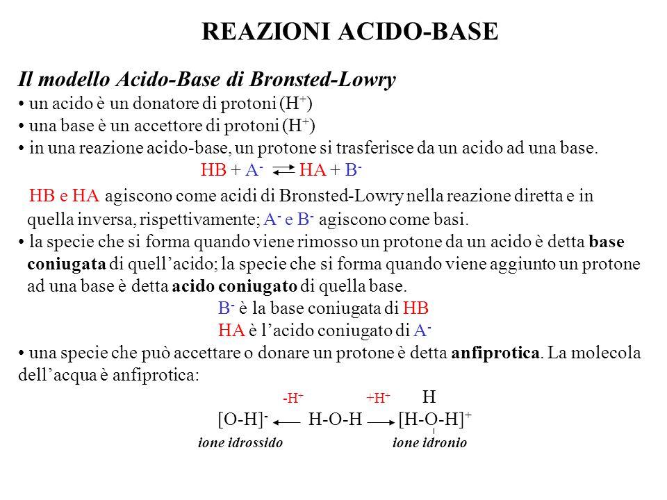 REAZIONI ACIDO-BASE Il modello Acido-Base di Bronsted-Lowry un acido è un donatore di protoni (H + ) una base è un accettore di protoni (H + ) in una reazione acido-base, un protone si trasferisce da un acido ad una base.