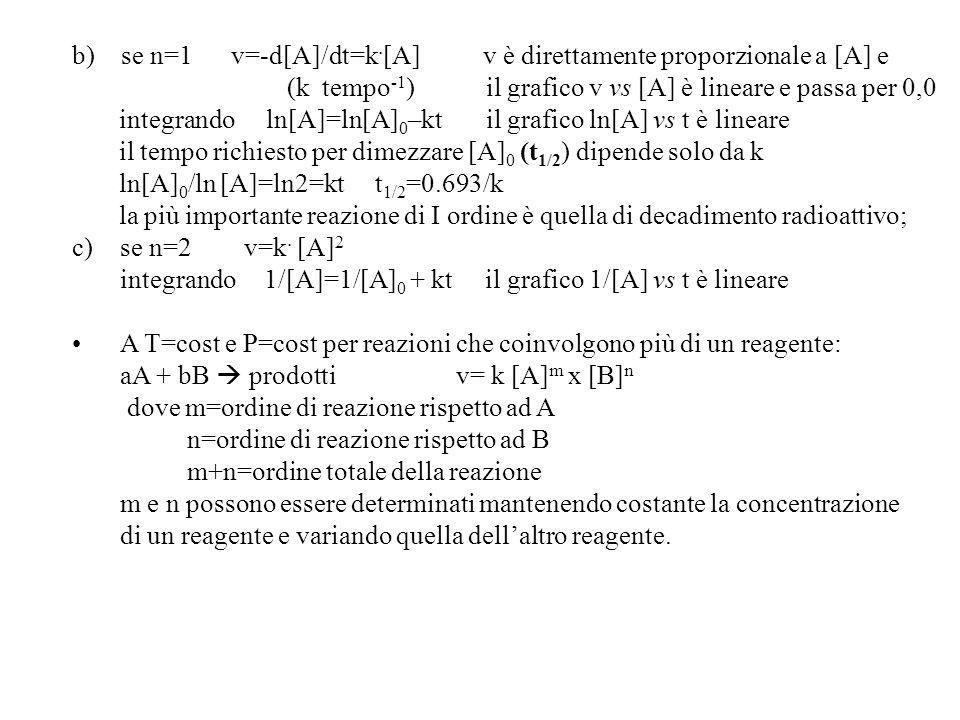 b) se n=1 v=-d[A]/dt=k.