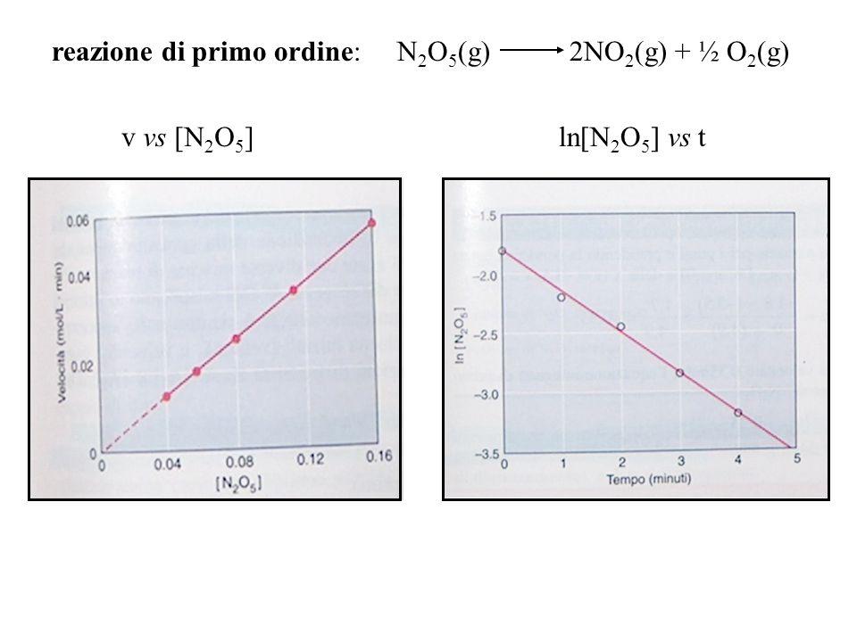 reazione di primo ordine: N 2 O 5 (g) 2NO 2 (g) + ½ O 2 (g) v vs [N 2 O 5 ]ln[N 2 O 5 ] vs t