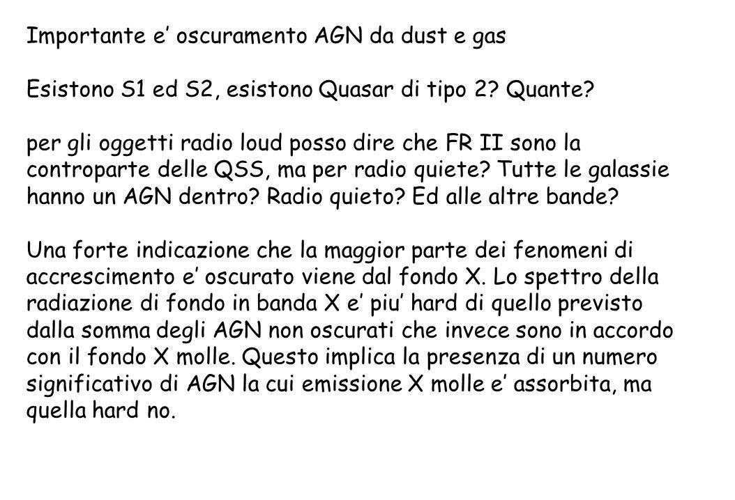 Importante e' oscuramento AGN da dust e gas Esistono S1 ed S2, esistono Quasar di tipo 2? Quante? per gli oggetti radio loud posso dire che FR II sono