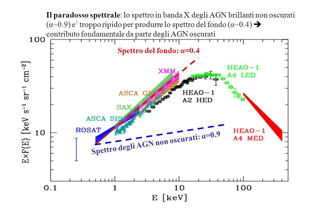 Spettro del fondo: α=0.4 Spettro degli AGN non oscurati: α=0.9 Il paradosso spettrale: lo spettro in banda X degli AGN brillanti non oscurati (α~0.9)