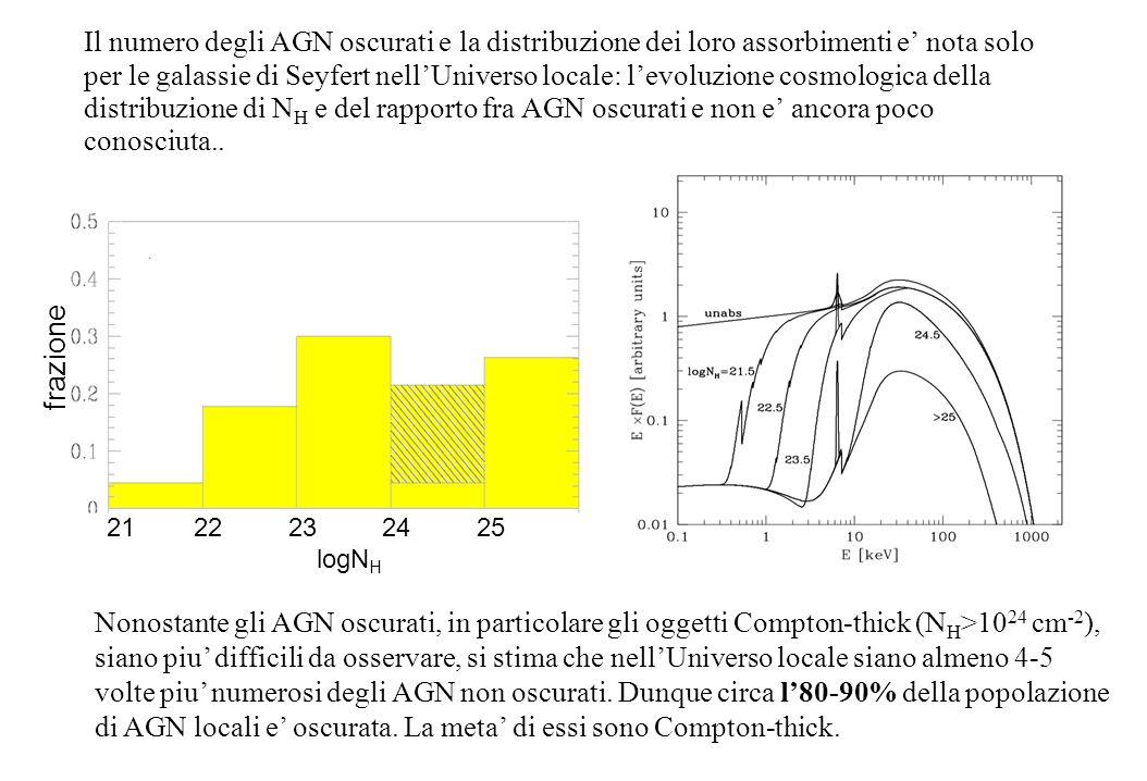 Il numero degli AGN oscurati e la distribuzione dei loro assorbimenti e' nota solo per le galassie di Seyfert nell'Universo locale: l'evoluzione cosmologica della distribuzione di N H e del rapporto fra AGN oscurati e non e' ancora poco conosciuta..