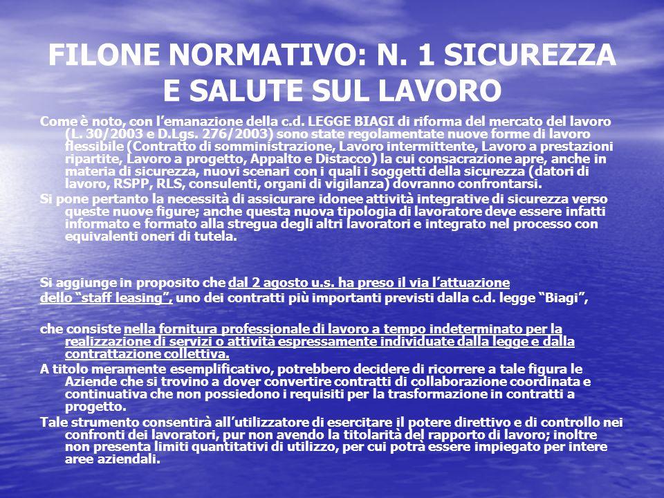 FILONE NORMATIVO: N. 1 SICUREZZA E SALUTE SUL LAVORO Come è noto, con l'emanazione della c.d.