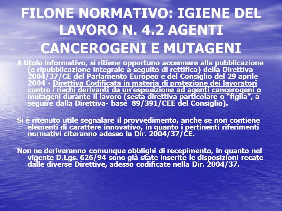 FILONE NORMATIVO: IGIENE DEL LAVORO N.