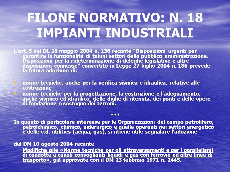 FILONE NORMATIVO: N. 18 IMPIANTI INDUSTRIALI L'art.