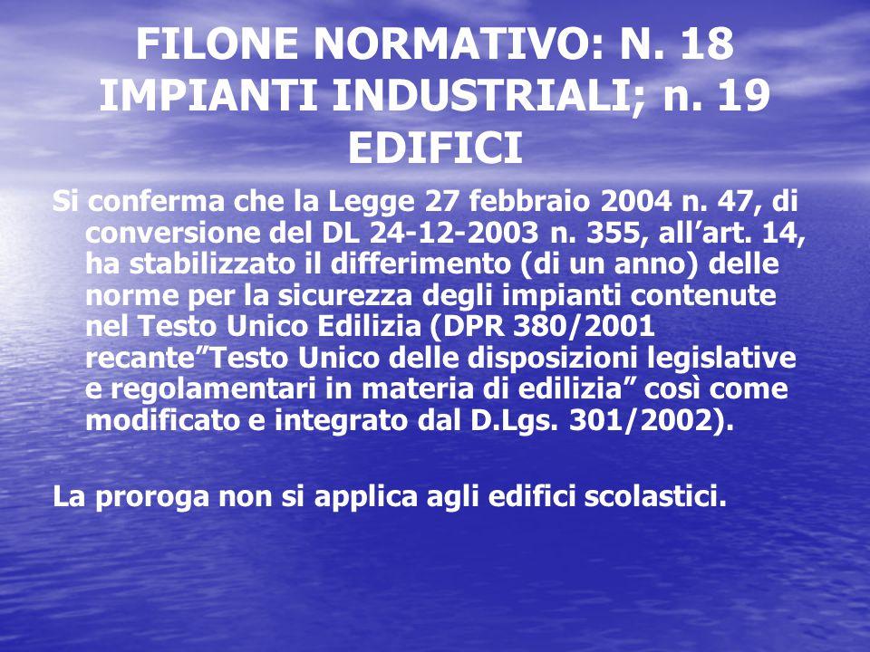 FILONE NORMATIVO: N. 18 IMPIANTI INDUSTRIALI; n.
