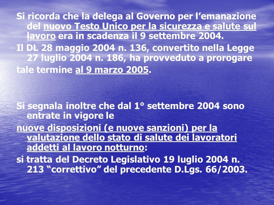 Si ricorda che la delega al Governo per l'emanazione del nuovo Testo Unico per la sicurezza e salute sul lavoro era in scadenza il 9 settembre 2004.