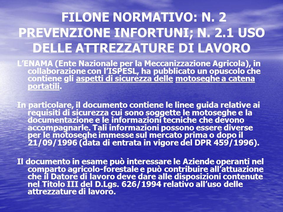 FILONE NORMATIVO: N. 2 PREVENZIONE INFORTUNI; N.