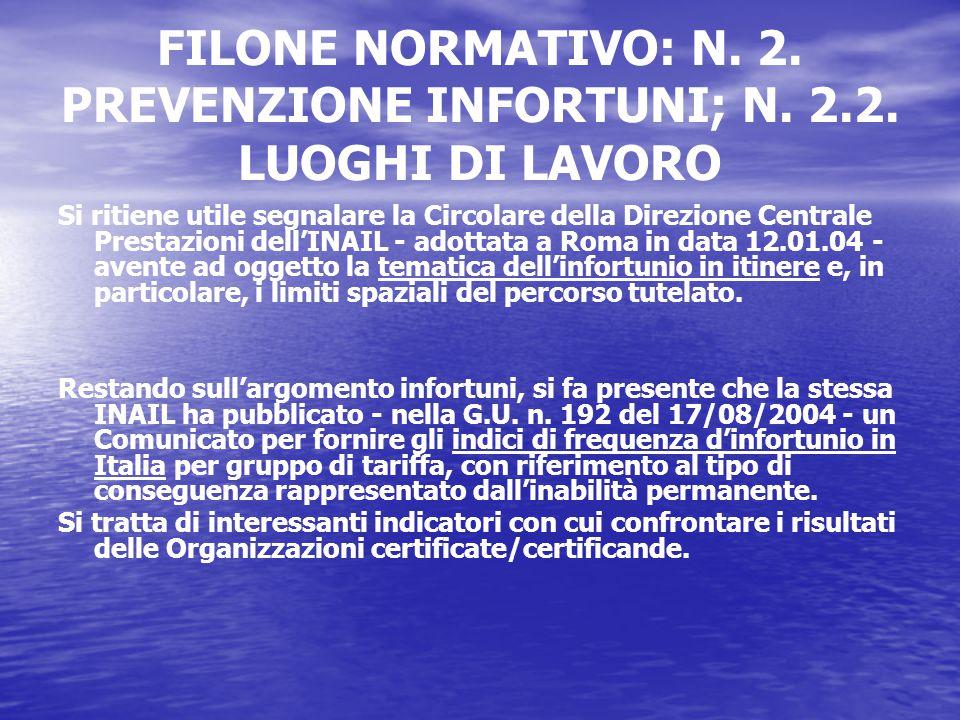 FILONE NORMATIVO: N. 2. PREVENZIONE INFORTUNI; N.