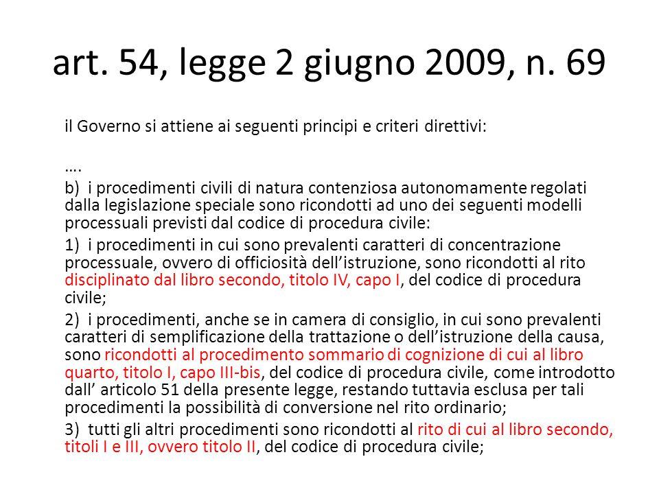 art. 54, legge 2 giugno 2009, n.