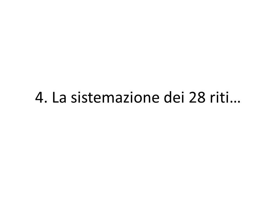 4. La sistemazione dei 28 riti…
