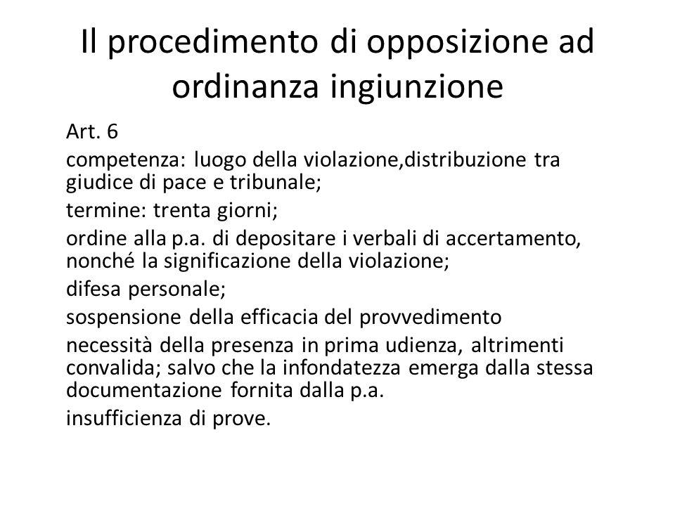 Il procedimento di opposizione ad ordinanza ingiunzione Art.