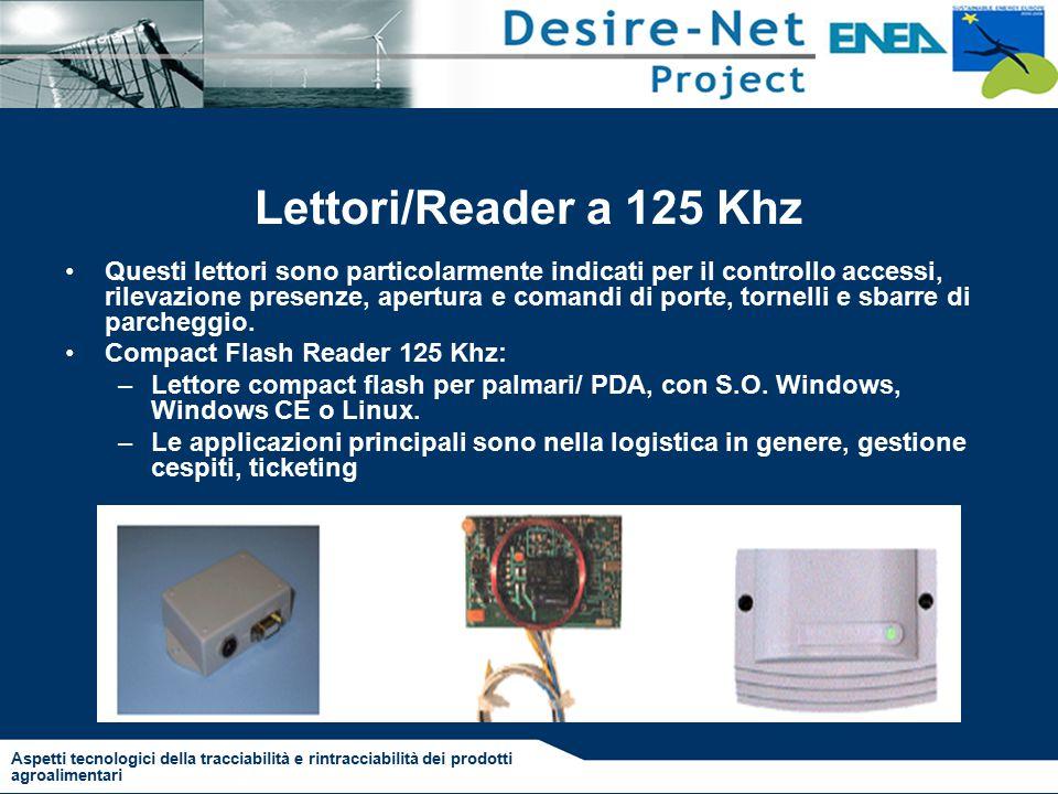Lettori/Reader a 125 Khz Questi lettori sono particolarmente indicati per il controllo accessi, rilevazione presenze, apertura e comandi di porte, tornelli e sbarre di parcheggio.