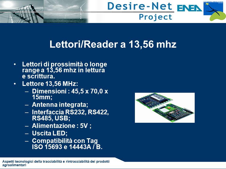 Lettori/Reader a 13,56 mhz Lettori di prossimità o longe range a 13,56 mhz in lettura e scrittura.