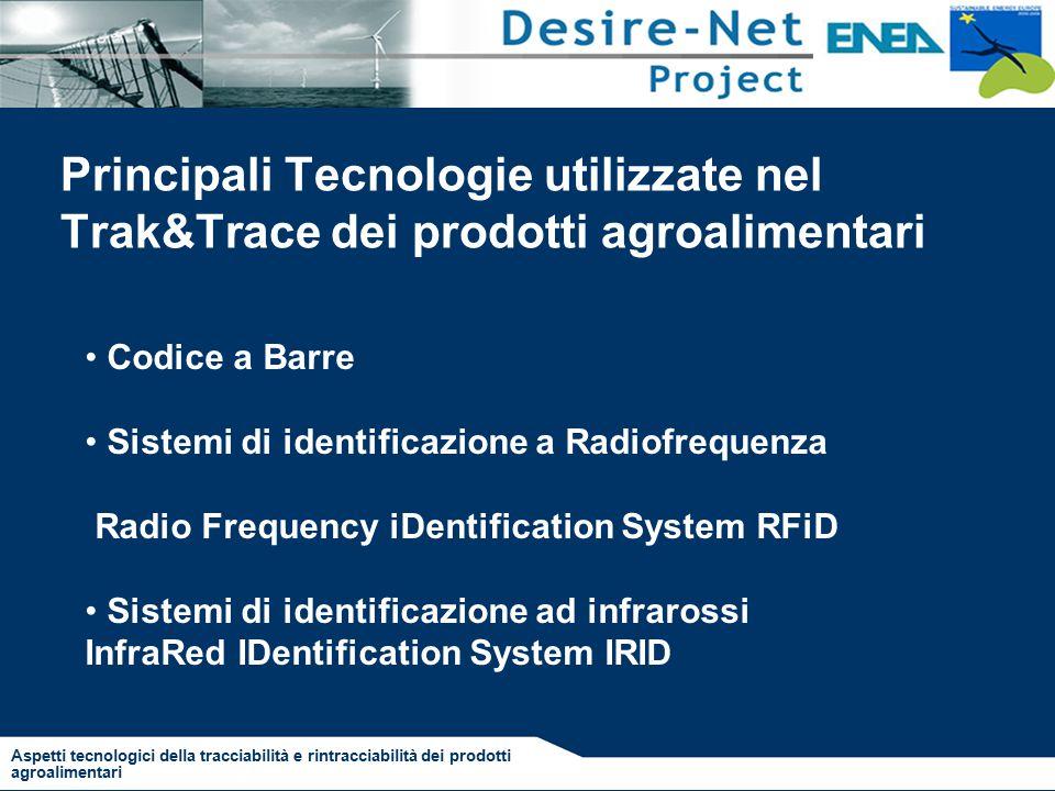 Principali Tecnologie utilizzate nel Trak&Trace dei prodotti agroalimentari Codice a Barre Sistemi di identificazione a Radiofrequenza Radio Frequency iDentification System RFiD Sistemi di identificazione ad infrarossi InfraRed IDentification System IRID Aspetti tecnologici della tracciabilità e rintracciabilità dei prodotti agroalimentari