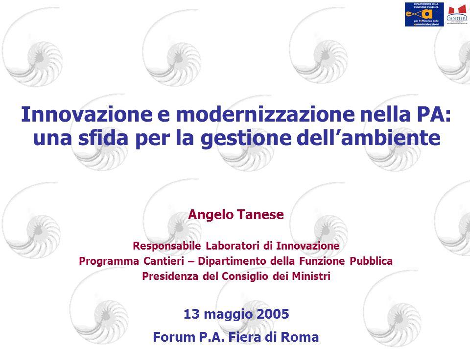Innovazione e modernizzazione nella PA: una sfida per la gestione dell'ambiente Angelo Tanese Responsabile Laboratori di Innovazione Programma Cantier