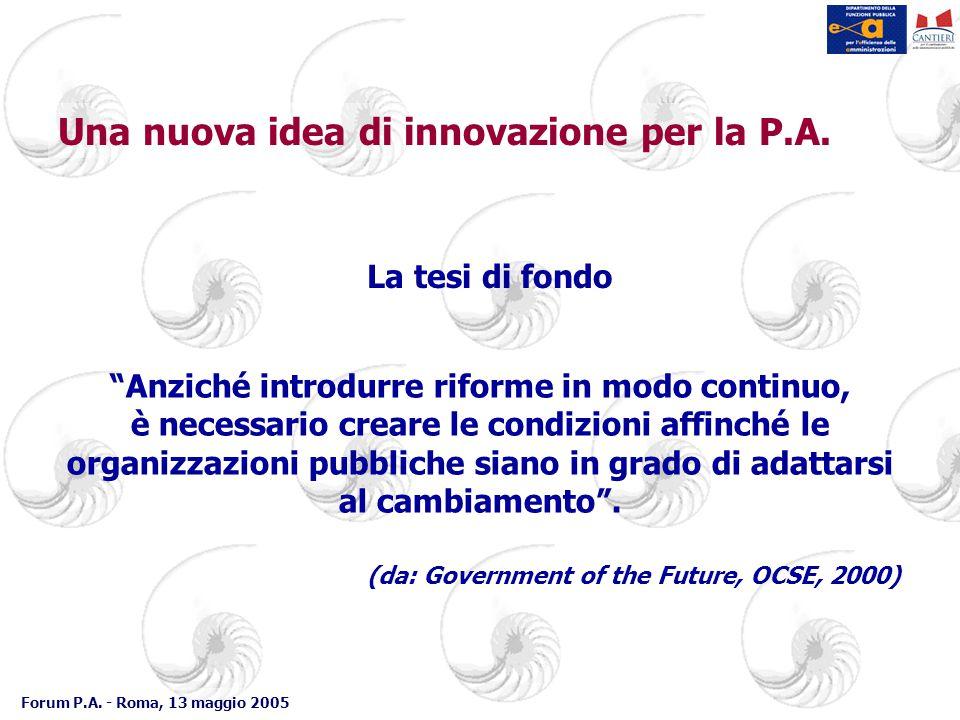 """Forum P.A. - Roma, 13 maggio 2005 Una nuova idea di innovazione per la P.A. La tesi di fondo """"Anziché introdurre riforme in modo continuo, è necessari"""