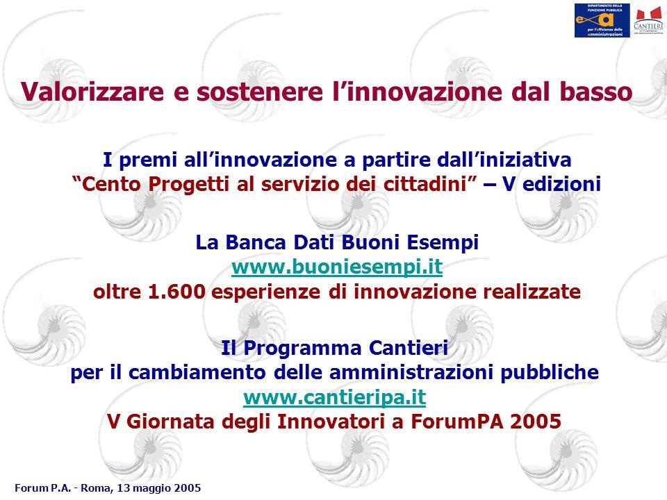 Forum P.A. - Roma, 13 maggio 2005 Valorizzare e sostenere l'innovazione dal basso La Banca Dati Buoni Esempi www.buoniesempi.it oltre 1.600 esperienze
