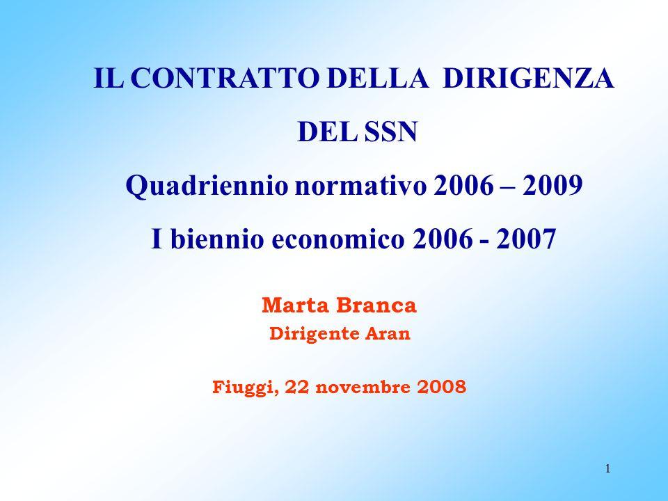 1 IL CONTRATTO DELLA DIRIGENZA DEL SSN Quadriennio normativo 2006 – 2009 I biennio economico 2006 - 2007 Marta Branca Dirigente Aran Fiuggi, 22 novembre 2008