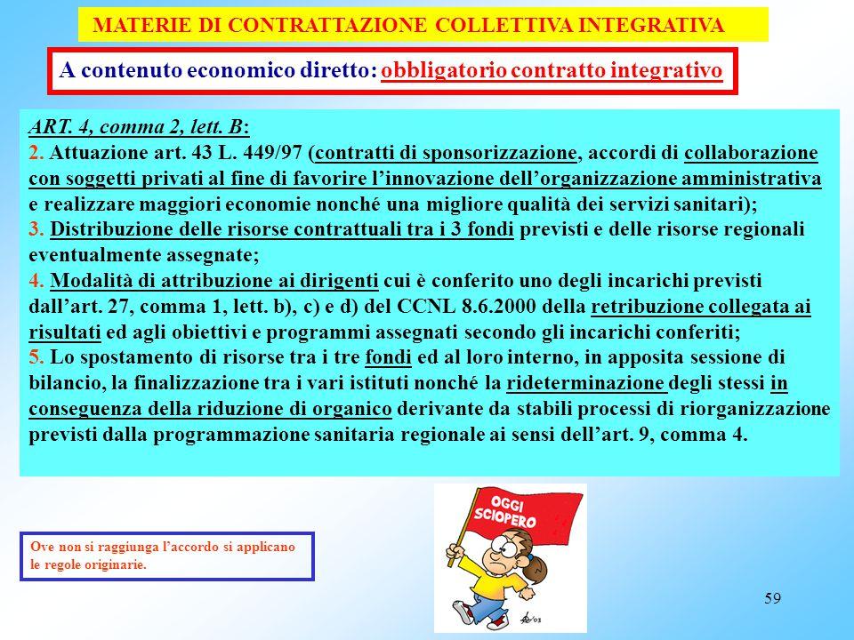 58 MATERIE DI CONTRATTAZIONE COLLETTIVA INTEGRATIVA ART. 4, comma 2, lett. A: Individuazione delle posizioni dirigenziali cui titolari devono essere e