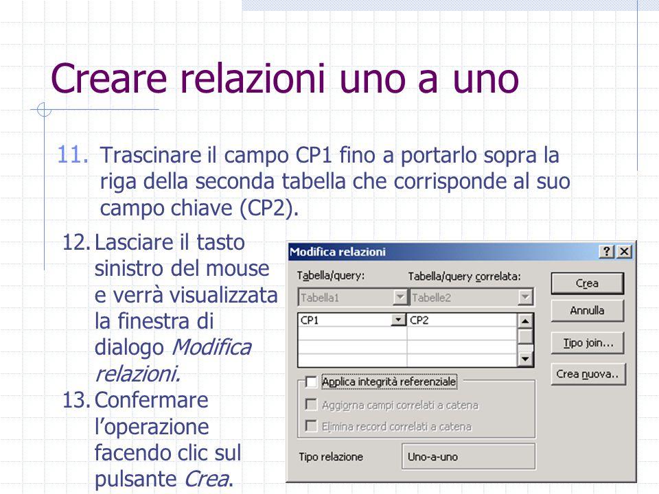 Creare relazioni uno a uno 11. Trascinare il campo CP1 fino a portarlo sopra la riga della seconda tabella che corrisponde al suo campo chiave (CP2).