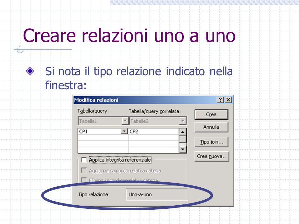 Creare relazioni uno a uno Si nota il tipo relazione indicato nella finestra: